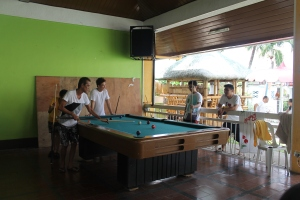 The guys playing billiards.
